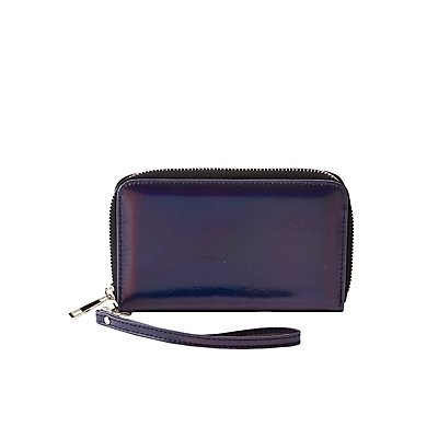 Metallic Faux Leather Phone Wristlet Wallet