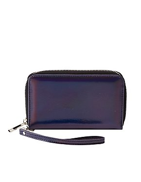 Metallic Faux Leather Phone Wristlet Wallet