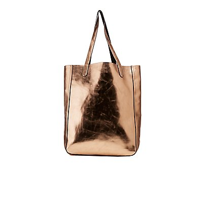 Metallic Faux Leather Reversible Tote Bag