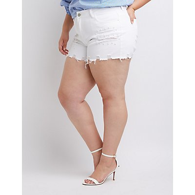 Plus Size Dollhouse Faux Pearl Destroyed Denim Shorts