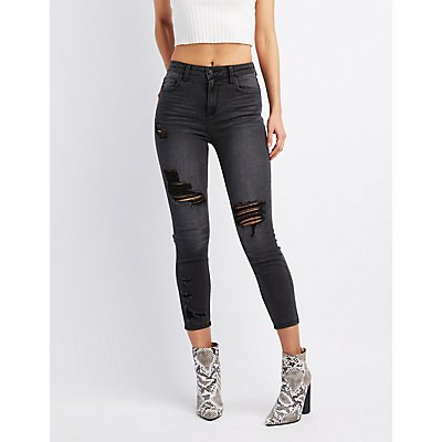 Cello Destroyed Mid-Rise Skinny Jeans