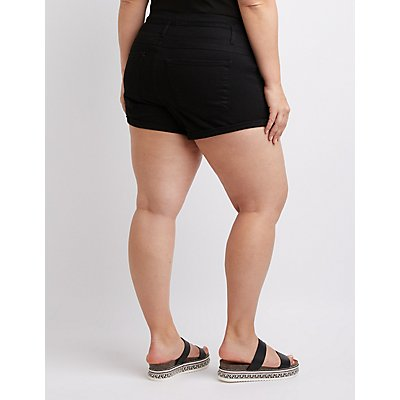 Plus Size Refuge Hi-Waist Shortie Shorts