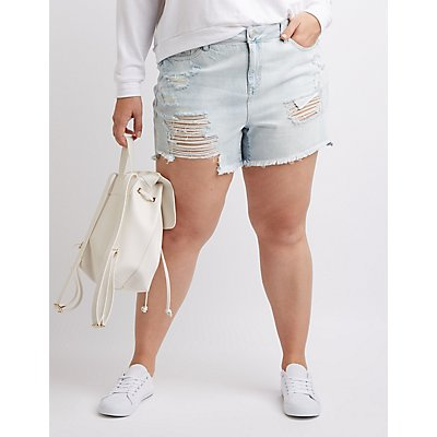 Plus Size Refuge Midi Cut-Off Denim Shorts