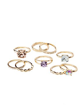 Crystal Stackable Rings - 9 Pack