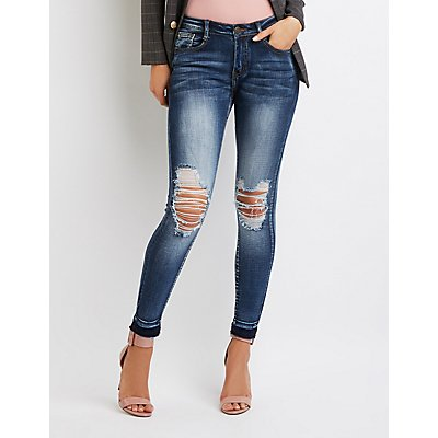 Machine Jeans Destroyed Mid-Rise Skinny Jeans