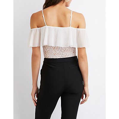 Lace & Mesh Ruffle Cold Shoulder Bodysuit