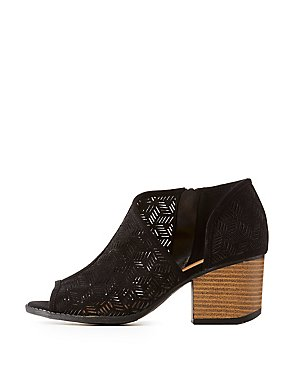 Qupid Perforated Peep Toe Ankle Booties