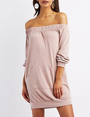 Off-The-Shoulder Pocket Sweatshirt Dress