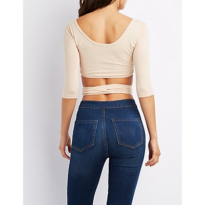Button-Up Tie-Front Crop Top