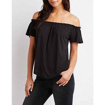 Ruffle-Trimmed Off-The-Shoulder Top