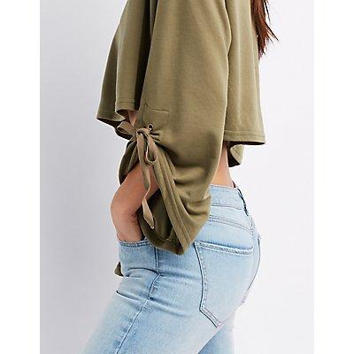 Ruched Sleeve Crop Sweatshirt
