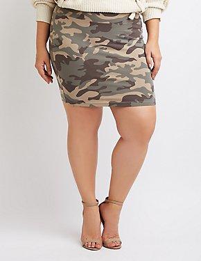 Plus Size Camo Bodycon Mini Skirt