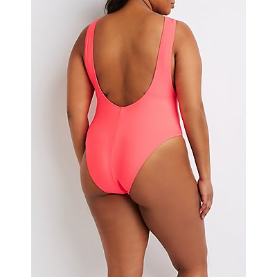 Plus Size Scoop Neck One-Piece Swimsuit