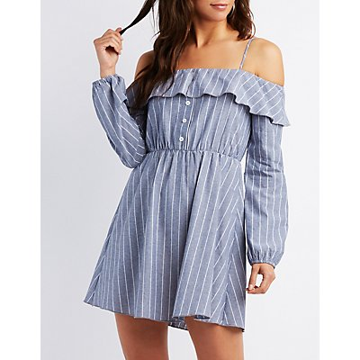 Striped Cold Shoulder Ruffle Shift Dress