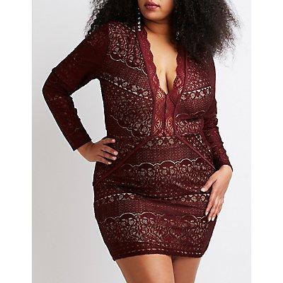 Plus Size Lace Bodycon Dress