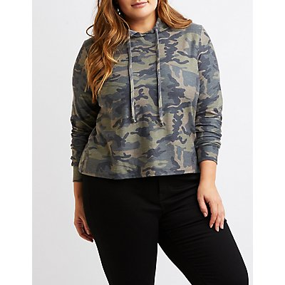 Plus Size Camo Cropped Drawstring Hoodie