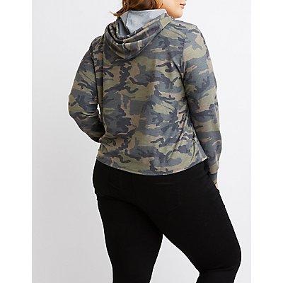 Plus Size Camo Cropped Drawstring Hoodie