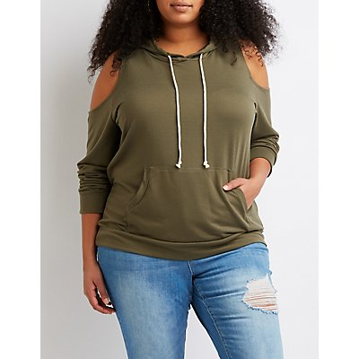 Plus Size Cold Shoulder Pullover Hoodie