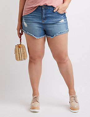 Plus Size Refuge Hi-Rise Cheeky Denim Shorts