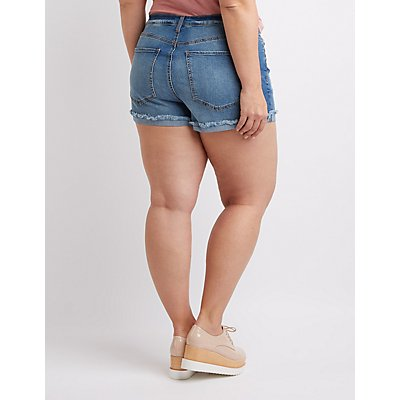 Plus Size Refuge Hi-Rise Cheeky Denim Shorts