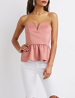 Notched Peplum Top