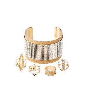 Crystal & Glitter Cuff Bracelet & Stackable Rings Set