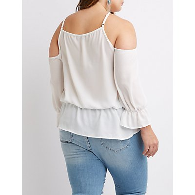 Plus Size Lace-Up Front Cold Shoulder Top