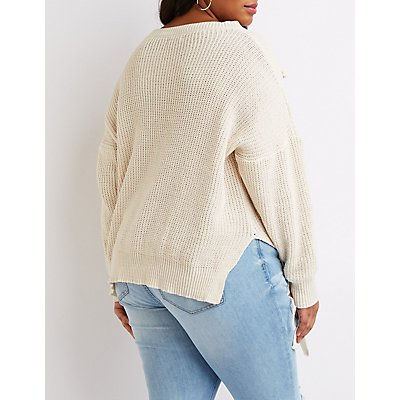 Plus Size Lace-Up Detail Pullover Sweater