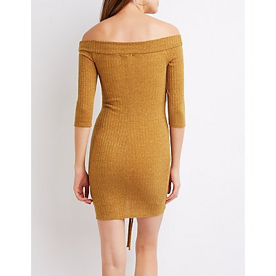 Off-The-Shoulder Ruched Bodycon Dress