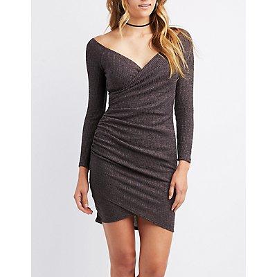 Ribbed Bodycon Wrap Dress