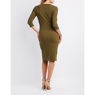 Ribbed Bodycon Midi Dress