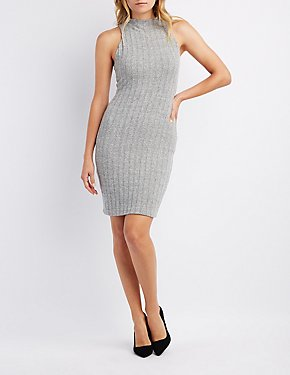 Hacci Mock Neck Midi Dress