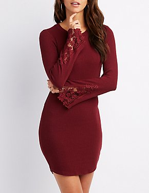 Ribbed Crocheted-Trim Bell Sleeve Dress