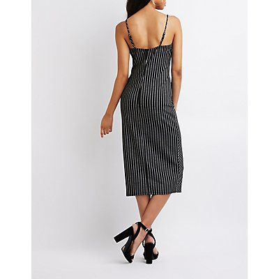 Pinstripe Bodycon Midi Dress