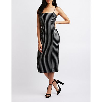 Pinstripe Bodycon Midi Dress