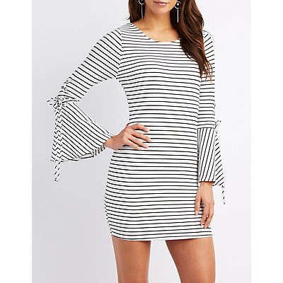 Striped & Ribbed Knit Bell Sleeve Bodycon Dress