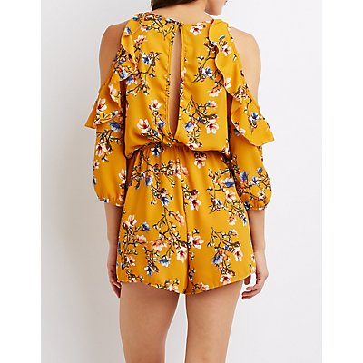 Floral Ruffle Sleeve Cold Shoulder Romper