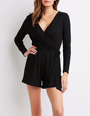 Ribbed Surplice Romper