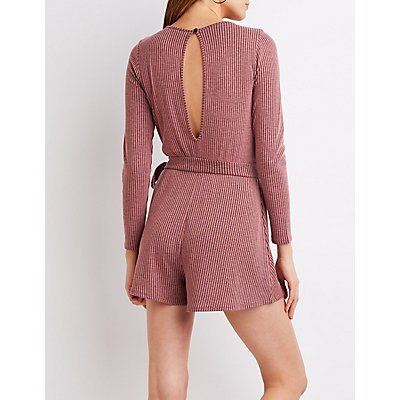 Ribbed V-Neck Romper