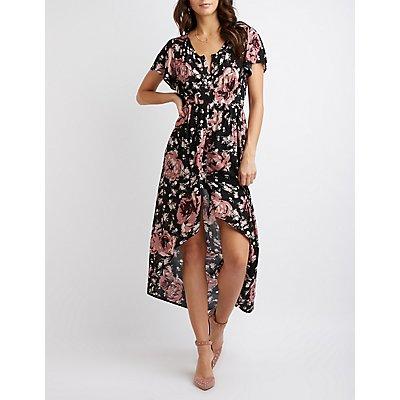 Floral Button Down High-Low Maxi Dress