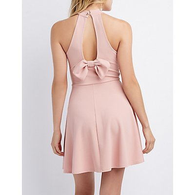 Bow-Detailed Halter Skater Dress