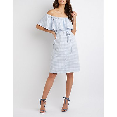 Button-Up Off-The-Shoulder Dress