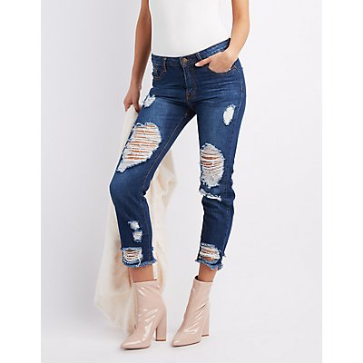 Machine Jeans Destroyed Mid-Rise Flare Jeans