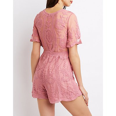 Floral Embroidered Mesh Romper