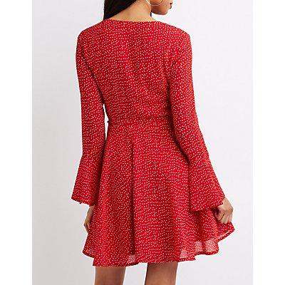 Polka Dot Bell Sleeve Skater Dress