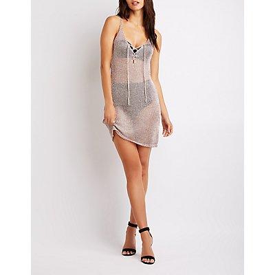 Metallic Lace-Up Bodycon Dress