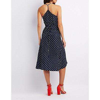 Polka Dot Ruffle-Trim Wrap Dress
