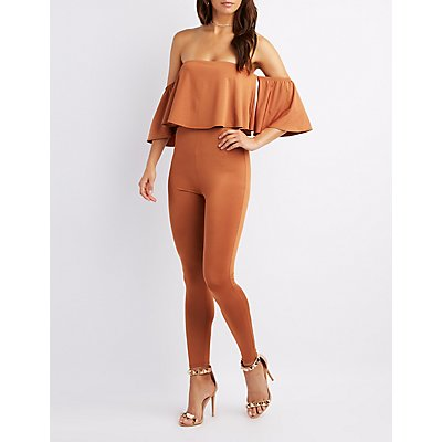 Off-The-Shoulder Skinny Leg Jumpsuit