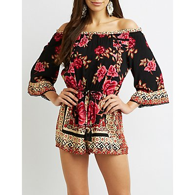 Floral Off-The-Shoulder Romper