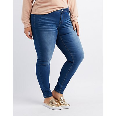 Plus Size Stretchy Mid-Rise Skinny Jeans